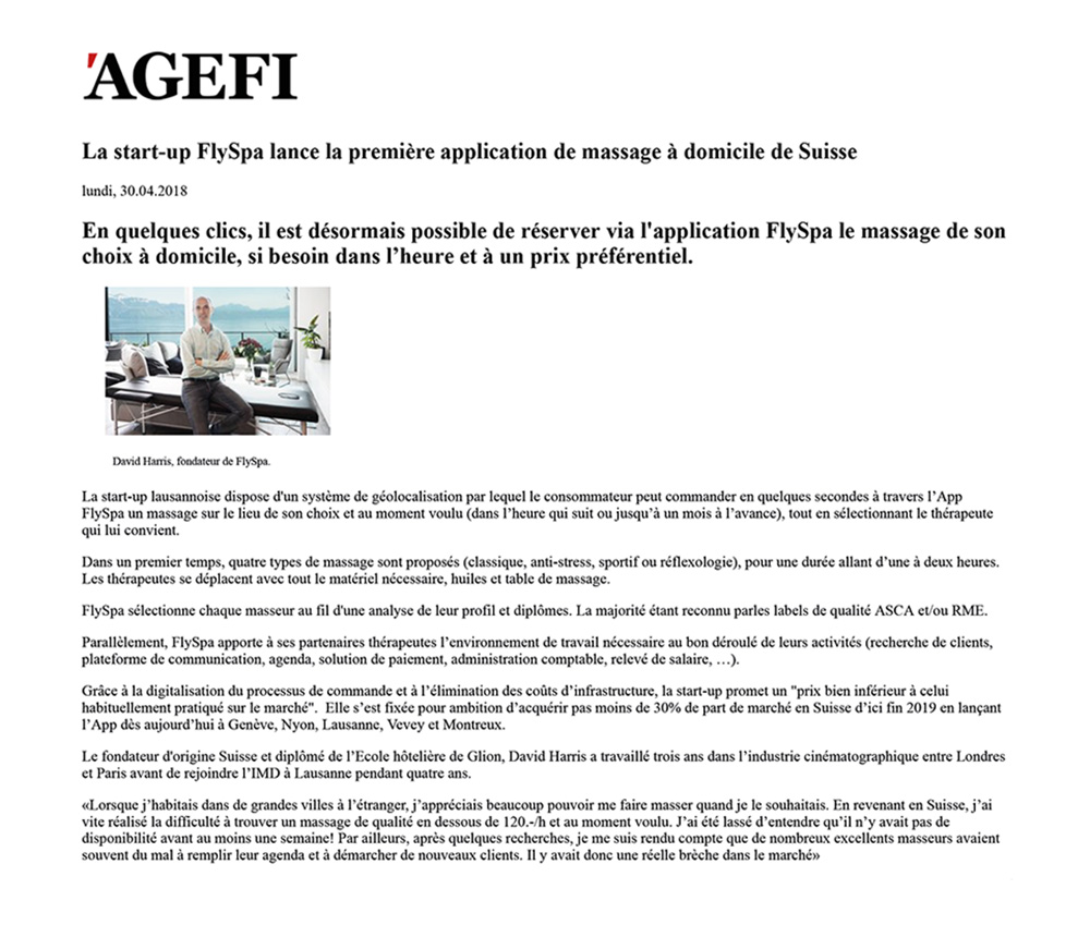 Article Agefi - 30 avril 2018