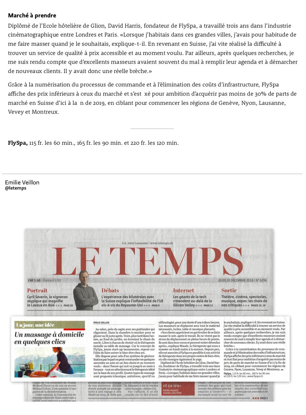 Article Le Temps - 20 décembre 2018